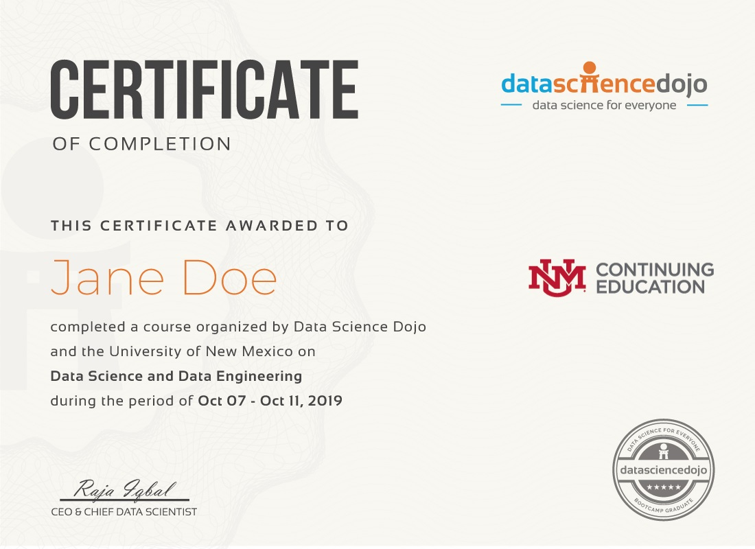 data science certificate- albuquerque